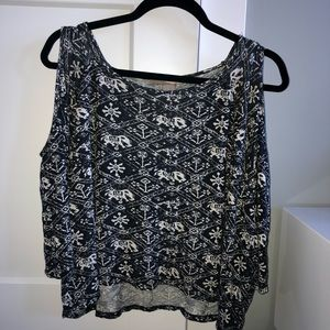 White and black elephant print cold shoulder top